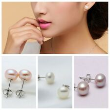 925 Sterling Silver Plated Natural 7-8MM White Freshwater Pearl Stud Earrings