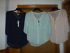 3/4 Sleeve Button front Blouses LC Lauren Conrad size LG, MD,SM,some color NWT