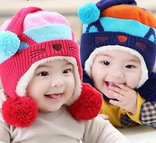 Children big ball CROCHET beanie Baby POM HAT boy/girl photo prop earflap hat
