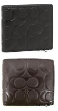 NWT COACH COMPACT ID SIGNATURE LEATHER CREDIT CARD WALLET 74992 BLACK & MAHOGANY