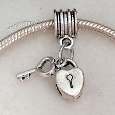 Silver Heart Lock Key dangle charm bead spacer fits Authentic European bracelet