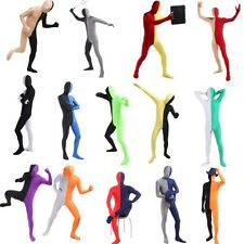 Lycra Two Tone Spandex Solid Zentai Party Sport Full Hood Body Skin Suit Costume