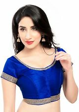 Beautiful Royal Blue Zari Bordered Saree Blouse Choli Sari Indian Crop Top