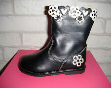 Girls Black Ex Chainstore Boots With Flowers & Hearts Design.  Sizes 3,4,5,6 & 7