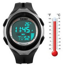 Thermometer Stop Light Waterproof Date Alarm Digital LED Sport Wrist Watch $#