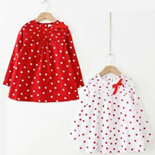 Toddler Baby Girls Polka Dots Bow One-piece Cotton Long Sleeve T-shirt Dress M79