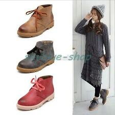 Ladies Vintage Lace Up Military Ankle Boots Boots Flats Casual Shoes Plus Size