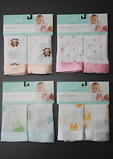 aden and anais Set of 2 identical Security Blankets with Satin Trim ~100% Cotton