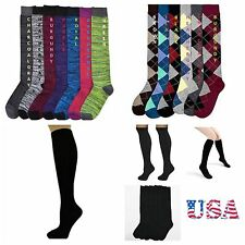 Women's Cute Design Knee High Socks 9-11 Fashion Pattern Print Argyle Black