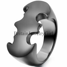 Cool Black Batman Solid Polish Stainless Steel Mens Ring Band Size 7-13