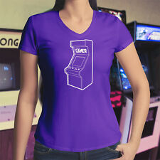 Retro Gamer Arcade Classic Game Old School Cool Womens Juniors V-Neck T-Shirt