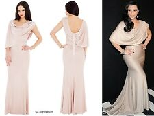 FULL LENGTH NUDE/BEIGE GRECIAN DRAPE PARTY PROM FORMAL EVENING LONG MAXI DRESS