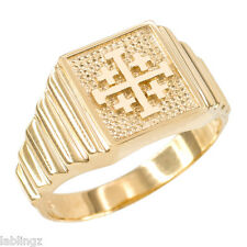 10K Gold Jerusalem Cross Templar Crusaders Ring Mens