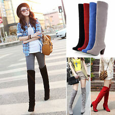 Womens Block Heel Over The Knee Riding Boots Faux Suede Stretch Thigh High Shoes