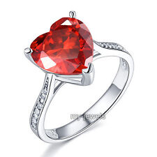 925 Sterling Silver Engagement Ring 3.5 ct Heart Ruby Red Created Diamond FR8217