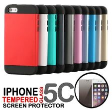 Shock Proof Armor Hard Case Cover For iPhone 5C Tempered Glass Screen Protector