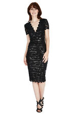 NEW BLACK SEQUIN LACE MIDI KNEE-LENGTH DRESS COCKTAIL PROM EVE FORMAL PARTY 8-14