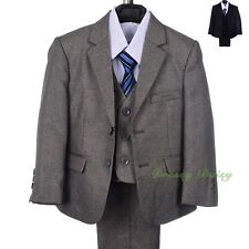 5pcs Set Tuxedo Formal Suit Wedding Pageboy Occasion Outfit Kids Size 1-6 ST037A
