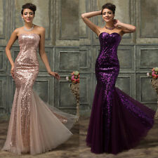 Luxury Womens Long Evening Formal Party Ball Gown Prom Wedding Bridesmaid Dress