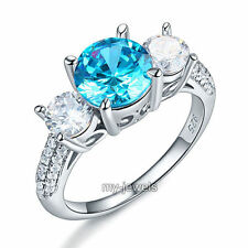 925 Sterling Silver 3-Stone Bridal Ring 2 ct Blue Created Diamond Vintage FR8226
