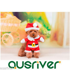 Puppy Pet Small Dog Cute Xmas Christmas Santa Claus Coat Costume Winter XS-XL