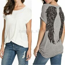 Plus Size Women Casual Short Sleeve Cotton Tee Shirt Wing Print Loose Top Blouse