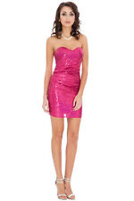 SHORT SEXY SLEEVELESS CERISE SEQUIN PROM FORMAL EVE PARTY DRESS 8-14 (WAS £49)