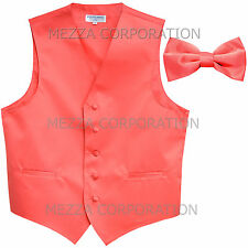 New Men's Vesuvio Napoli Tuxedo Vest Waistcoat Bowtie prom wedding party Coral