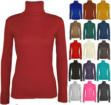 NEW LADIES LONG SLEEVE POLO NECK ROLL NECK TOP TURTLE NECK PLAIN JUMPER 8-26