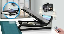 New Exclusive Rio Designer LED Ottoman Curved Storage Bed 4'6 Double 5ft King
