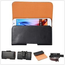 Classic Black Horizontal PU Leather Holster Pouch Waist Belt Clip For Cell Phone