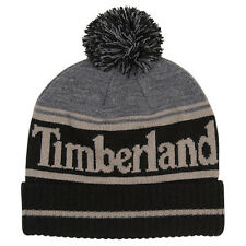 Timberland Black Color Block Logo Watchcap Pom Beanie