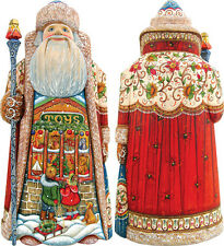 "G Debrekht Holiday Wishes Santa 11"" 210113 Wooden Carved Santa Limited Edition"
