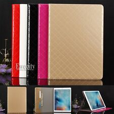 Luxury Deluxe Net Grid Leather Folio Stand Smart Case Cover For Apple iPad