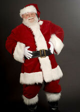 LUXURY DELUXE DEEP RED VELVET SANTA SUIT.PROFESSIONAL FATHER CHRISTMAS COSTUME.
