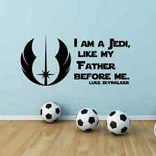 I am a Jedi like my Father before me Star Wars Vinyl Wall Sticker Wall Decal