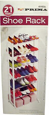 7 TIER 30/21 PAIR WHITE SHOE RACK STORAGE SHELF STAND BOOT ORGANISER UNIT TIDY