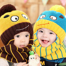 2015 baby hat and scarf in winter knitted cap for girls boys and kids