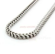 "22"" 24"" Mens 6mm Silver Stainless Steel Franco Cuban Box Chain Link Necklace Hot"