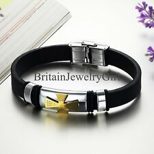 Men's Stainless Steel Celtic Cross Bracelet Silicone Wristband Bangle 8.66""
