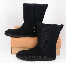 NWT Womens UGG Lo Pro Floral Cutout Black Suede Leather Boots - Size 6-7