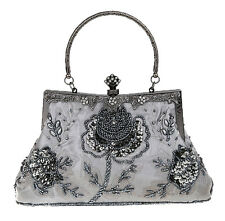 Elegant Women Antique Beaded Rose Bridal Party Evening Purse Clutch Handbag Bag