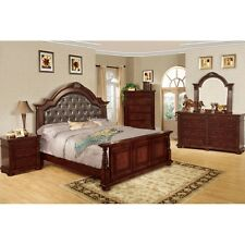 Brown Cherry Finish Esperia Bedroom Set With Bed. Dresser, Mirror & Night Stand