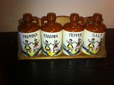 Vintage Japan Ceramic 4pc  Penn Dutch Spice set and wood shelf rack collectable