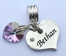 SWAROVSKI Element Crystal HEART NAME Charm BETHAN 12 Colours CLIP or BAIL