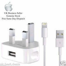 GENUINE APPLE IPHONE 6 5 IPAD IPOD MAINS WALL CHARGER PLUG,  USB 2 METER Cable