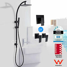 "WELS 8"" Rain Handheld Shower Head Wall Sliding Rail & Mixer Tap Set Matt Black"
