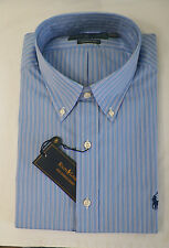 RALPH LAUREN MENS DRESS SHIRT CLASSIC FIT BLUE / WHITE STRIPED BOTTON-DOWN NWT