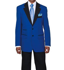 Men's Two Button Poplin Dacron Fashion Suit 7022 Color Royal Blue, Bgdy, Purple