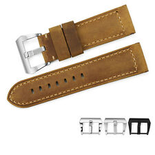 24mm Genuine Assolutamente Leather Watch Band Strap Steel Buckle For Panerai